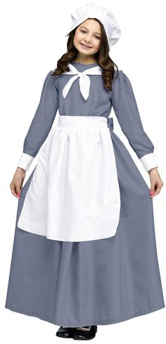 Pilgrim Girl Child Costume This costume includes a gray gown with a white apron and cap. Does not include shoes. Weight (lbs) 0.75 Length (inches) 10 Width (inches) 2.75 Height(inches) 19.75