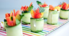 A simple snack that's adorable and packs in the veggies! Fresh cucumber roll-ups are the perfect fun and healthy snack for a kids party table. Super Healthy Kids, Healthy Meals For Kids, Kids Meals, Veggie Bites, Veggie Sushi, Healthy Cat Treats, Healthy Snacks, Healthy Eating, Cucumber Roll Ups