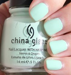 My favorite nail polish in the universe... my nails have been this color for a month straight :) China Glaze Refreshmint