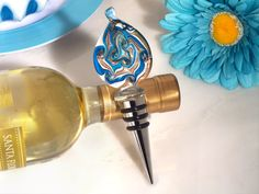 Murano Teardrop Design Teal and Gold Bottle Stopper - Wholesale Favors