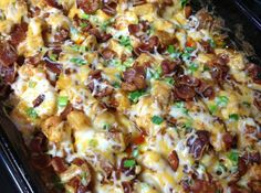 Loaded Chicken and Potatoes - 1. Preheat oven to 400 degrees. 2. mix olive oil, salt, pepper, paprika, garlic powder, and hot sauce. Add potatoes and chicken and stir to coat. put in baking dish. 3. Bake  55-60 minutes, stirring every 20 min. Fry your bacon   4. Once potatoes and chicken are fully cooked, remove from the oven. Top cooked potatoes with the cheese, bacon, and green onion. Return the casserole to the oven and bake for 5 minutes or until cheese is melted.
