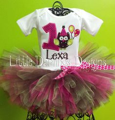 Adorable Girls Owl Themed Birthday Onesie or by LilDarlingsDesigns, $25.00 @Shannon Hunter (I could do this for Mags with any theme but especially the owl)