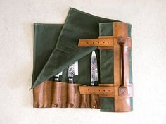 """Waxed Canvas & Hand Dyed Leather Chef's Roll // """"waxed knife roll"""" by fullgive in oak and java"""