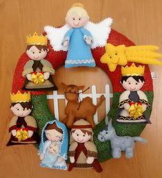 Felt Banner, Christmas Crafts, Christmas Ornaments, Xmas Wreaths, Felt Crafts, Nativity, Cactus, Teddy Bear, Holiday Decor