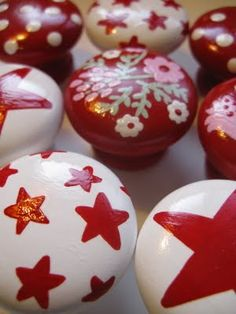 Hand Painted Drawer Knobs @Andrea Brown Blossom Child Design www.facebook.com/pages/Blossom-Child-Design