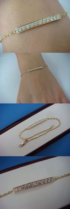 Diamond 10976: 14K Yellow Gold 11 Genuine Diamonds 0.50 Ct Bar Bracelet,2.4 Grams,7 Inch Long -> BUY IT NOW ONLY: $495.0 on eBay!
