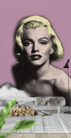 Pink Marilyn Monroe Wall Mural - Wallpaper