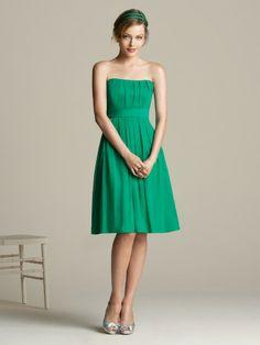 (NO.018718 )Sheath / Column Strapless Ruffles  Sleeveless Knee-length  Chiffon Green Bridesmaid Dress / Cocktail Dress / Homecoming Dress