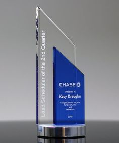 The Glass Peak Duet Award is a fusion of clear and blue optical glass, deep etched with your custom engraving and logo. The award is elevated on a handsome brushed silver base. Glass Awards, Crystal Awards, Custom Engraving, Laser Engraving, Organizational Chart Design, Identity Card Design, Employee Awards, Glass Trophies, Trophy Design