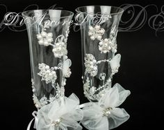 Wedding  glasses // Pearly Lace Bridal champagne by DiAmoreDS