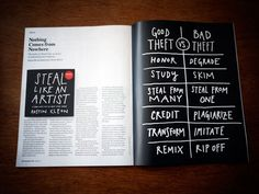Austin Kleon, good theft, bad theft.