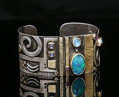 Linda LADURNER Braclet 2009 silver, gold, opal, moonstone, iolite, ruby, amethyst, aquamarine.