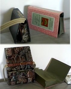 Book purse. Cool!  I like the use of tapestry for the lining and an old belt for the strap.