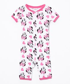 Another great find on #zulily! Pink & White Minnie Romper - Infant & Toddler by AME #zulilyfinds