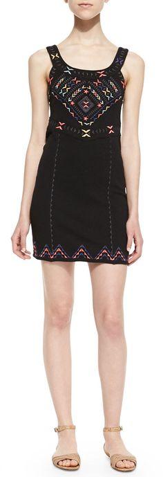 Free People Chevron Embroidered Sheath Dress, Black