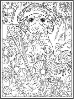 Dazzling Dogs Coloring Book, Artwork By Marjorie Sarnat doverpublications.com