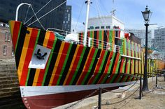 ship painted in bright contrasting colours