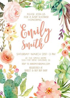 Girl Baby Shower Invitation, Succulent, Watercolor, Flowers, Boho, Baby Shower…