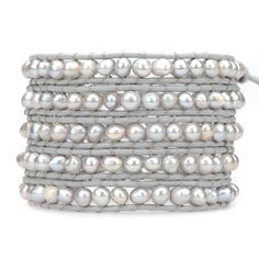 Gray Freshwater Pearls on Gray - Victoria Emerson Wrap Bracelet