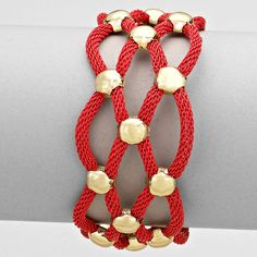 Red Mesh Chain Bracelet with Gold Beads