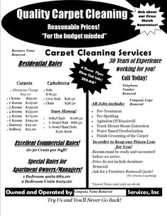 Carpet Cleaning Postcards Flyers Or Hand Bills For