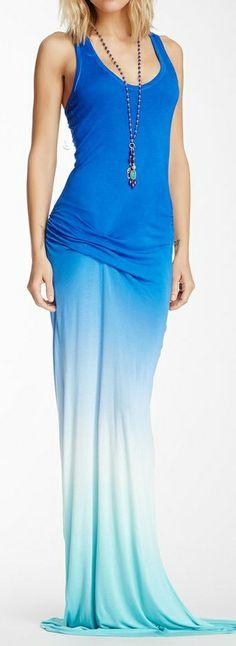 Ombre maxi dress   ocean blue