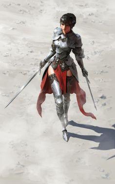 "rhubarbes: ""ArtStation - female knight , by hyunjoong . """