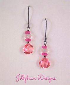 Pink Quartz Sapphire Morganite gemstone dark sterling silver earrings    #pink #gemstone #earrings #jellybeandesigns