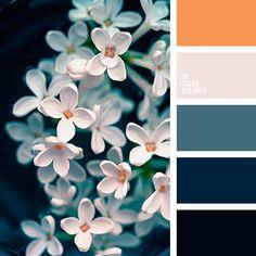 """апельсиновый, грязный белый цвет, зеленовато-синий цвет, оттенки синего, полночный синий, почти черный цвет, серо-розовый оттенок, серо-синий, темно-синий, теплый оранжевый, цвет """"неви"""", цвет апельсина, яркий оранжевый, яркий синий цвет."""