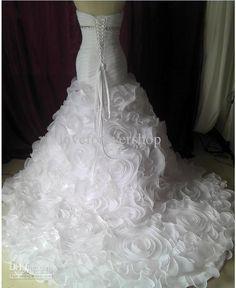 Real Image Sexy Sweetheart Rosette Organza Bridal Chapel Train ...