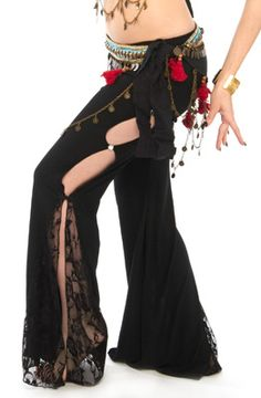 Peek-A-Boo Pants with Lace - BLACK  http://www.bellydance.com/Peek-A-Boo-Pants-with-Lace--BLACK_p_4238.html