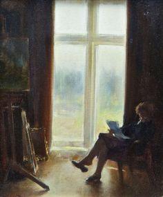 Thomas Ryan (1929-) - Interior with Lady Reading, 1988