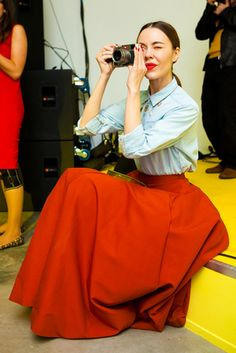 Ulyana Sergeenko - in love with the red full skirt and the chambray shirt