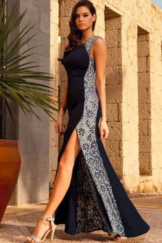 Cheap Navy Lace Side Maxi Dress With Fish Tail Detail online - All Products,Fashion Dresses,Evening Dresses Cheap Dresses, Sexy Dresses, Fashion Dresses, Lace Dresses, Lovely Dresses, Side Slit Maxi Dress, Formal Evening Dresses, Club Dresses, Designer Dresses