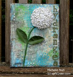 Completed Mixed Media Hydrangea Canvas
