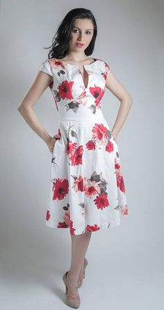 Floral dress summer dress made to measure dress mid length dress mother of the bride dress cotton dress wedding guest dress Cotton Dresses, Cute Dresses, Beautiful Dresses, Casual Dresses, Fashion Dresses, Summer Dresses, Floral Dresses, Mid Length Dresses, Printed Skirts