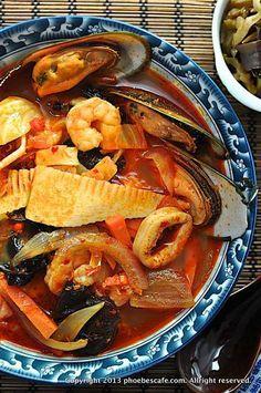 매운 짬뽕 레시피 | Seafood Stew Korean Food Spicy Recipes, Fish Recipes, Asian Recipes, Cooking Recipes, Hawaiian Recipes, Korean Dishes, Korean Food, K Food, Food Porn