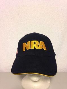 NRA HAT National Rifle Association Black Gold Embroidered W  USA Flag  NRA   BaseballCap 10af10c64c97