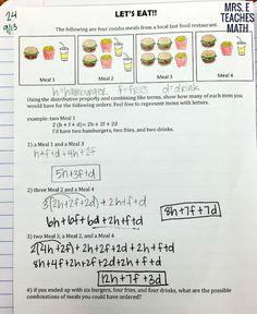 Lesson Idea and Foldable for the Distributive Property for Algebra 1 Algebra Worksheets, Algebra Activities, Maths Algebra, Algebra Help, Math 8, Teaching Secondary, Secondary Math, Teaching Math, Algebra Interactive Notebooks