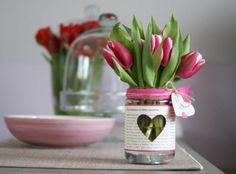 blumengestecke selber machen tischdeko ideen mit tulpen