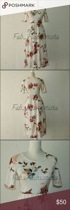 "Floral midi dress Gorgeous floral midi dress.  Perfect for summer wear.  Can be dressed up or down.  Measurements: approx - Waist 11.5-12"" unstretched ( stretchy waist) - pit to pit : 16"" - length (top shoulder to hem) : 44.5-45 - sleeve : (from pit outward) 5""  Features : Two side pockets.  Will only sell for a good price. I am thinking to keep it. It is just a tad too tight. Promesa Dresses Midi"