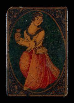 playing card woman holding a jug 19s iran