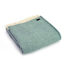 Tweedmill Pure New Wool Illusion Throw Blanket Sea Green