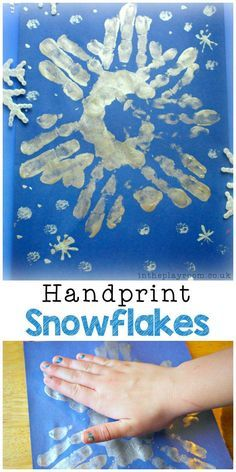 silver handprint snowflakes winter craft for kids