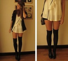 Over-the-knee socks! Outfit complete with a long t-shirt and cardigan #Fall #fashion