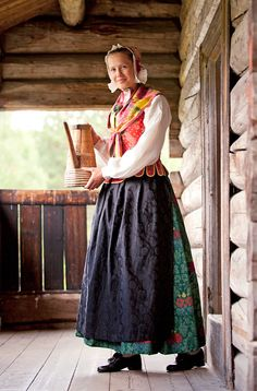 The Hedemark bunad is one of these. It represents the costume tradition from the late and early centuries costume and is heavily influenced by the Rococo style with cuts and material that were very modern for the time. Folk Costume, Costumes, European Dress, Rococo Style, Daily Dress, Summer Outfits Women, Norway, Scandinavian, Midi Skirt