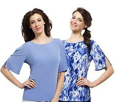 Susan Graver Set of 2 Liquid Knit Tops with Split Sleeves got these on ebay!