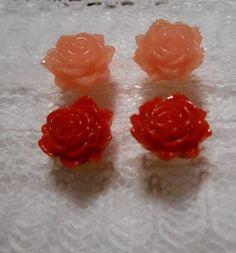ピアス金具 メッキ お色はゴールド ビーズ半透明淡いピンク薔薇 13mm 2個 、赤い薔薇 13mm 2個 |ハンドメイド、手作り、手仕事品の通販・販売・購入ならCreema。