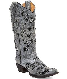 Corral Red Rock Cowboy Boot. Maybe for under the dress?  Hard time wearing pointy toed boots though