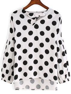 Bluse mit Punkte und Knoten am Kragen-schwarz und weiß 12.63